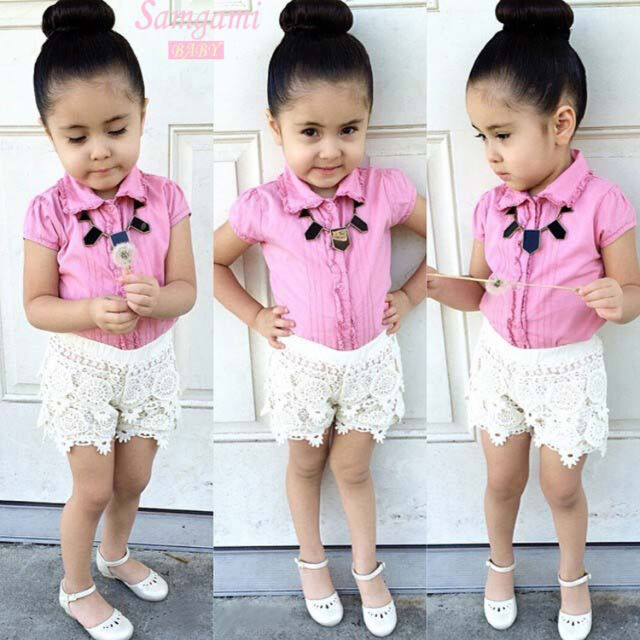 2015 2Pcs Toddler Kids Girls Top T-shirt+Pants Lace Flower Outfits Set Suit 2-8Y