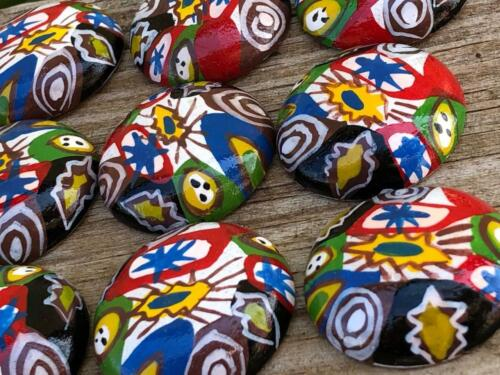 12 Colorful Wood Millefiori African Trade Small Disc Cabs Cabochons Crafts 26 mm