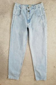 Vintage-GUESS-TAILLE-HAUTE-TAPERED-bleu-clair-MAMAN-1980-S-Jeans-Taille-12-W30-L34