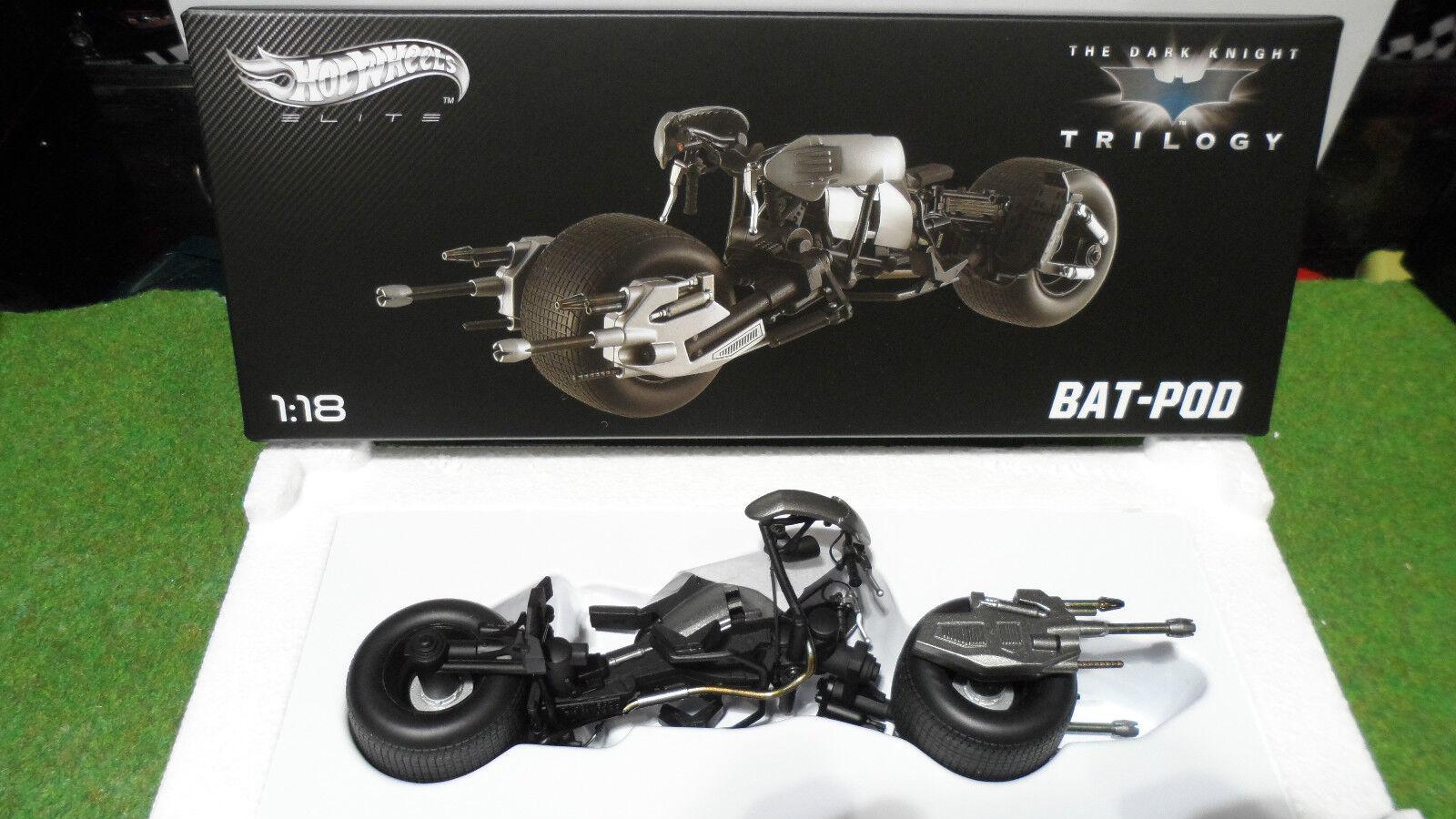 MOTO BAT-POD THE DARK KNIGHT TRILOGY BATMAN 1 18 HOT WHEELS ELITE X5471 miniatur