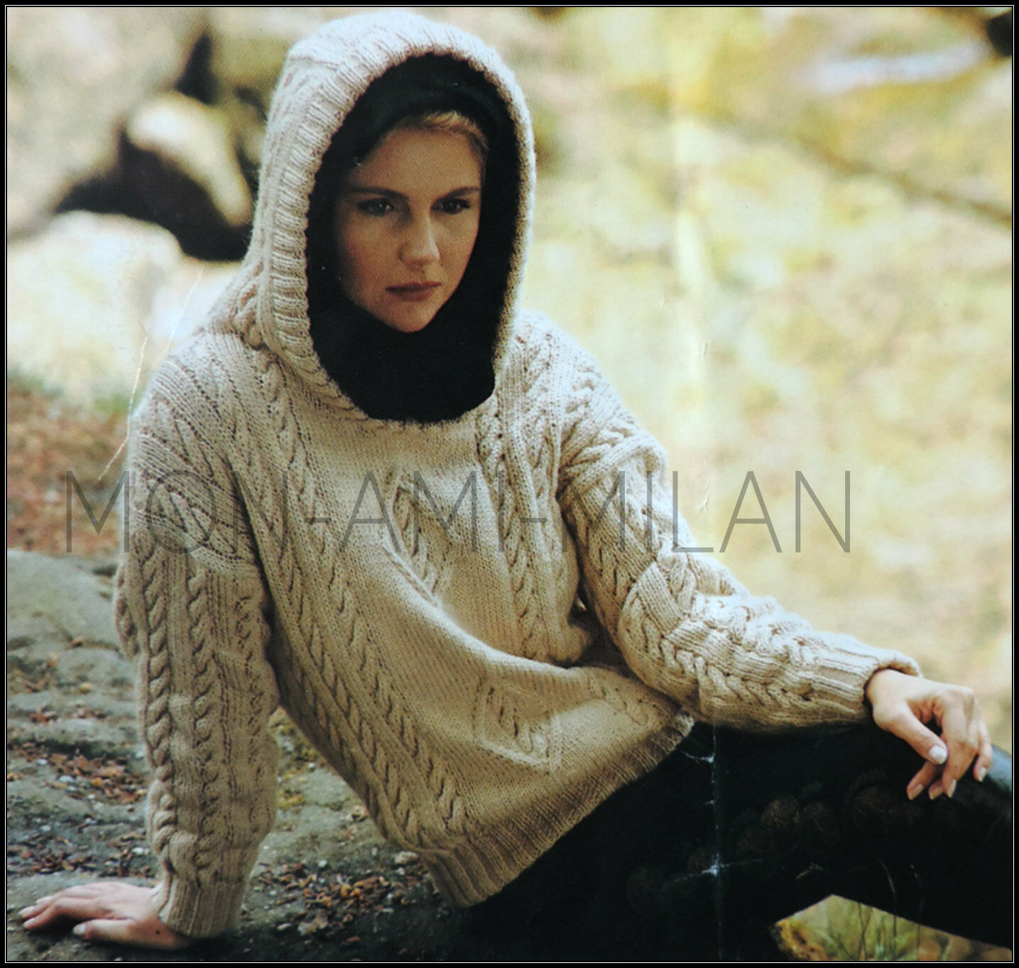 39194b330 Aran Cabled Hooded Top Knitting Pattern Photocopy Ladies Hoodie Sweater  30-40