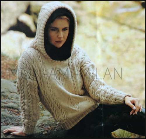 Aran Cabled Hooded Top Knitting Pattern Photocopy Ladies Hoodie Sweater 30-40/""