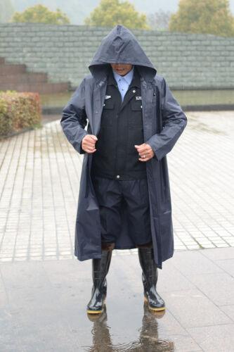 Mens Raincoat Hooded Windbreaker Long Black Waterproof Working Button Jacket HOT