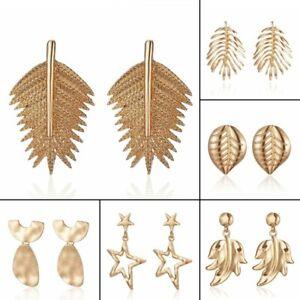 Boho-Gold-Statement-Leaf-Ear-Stud-Earrings-Dangle-Women-Party-Charm-Jewelry-Gift