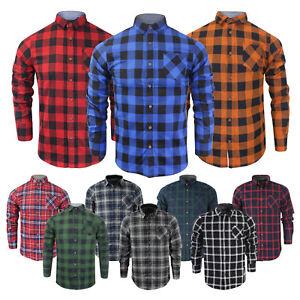 Mens-alma-valiente-034-Jack-Mangas-largas-Camisa-Informal-De-Algodon-Cepillado-Cuadros-De-Lenador