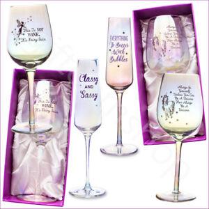 Détails Sur Lustre Licorne Verre Vin Boîte Cadeau Fête D Anniversaire Irisé Fairy Verres à Vin Afficher Le Titre D Origine