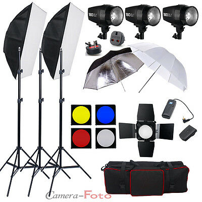 540W Studio Flash Lighting Set Photography Strobe Light 3 x 180W Portrait Kit UK