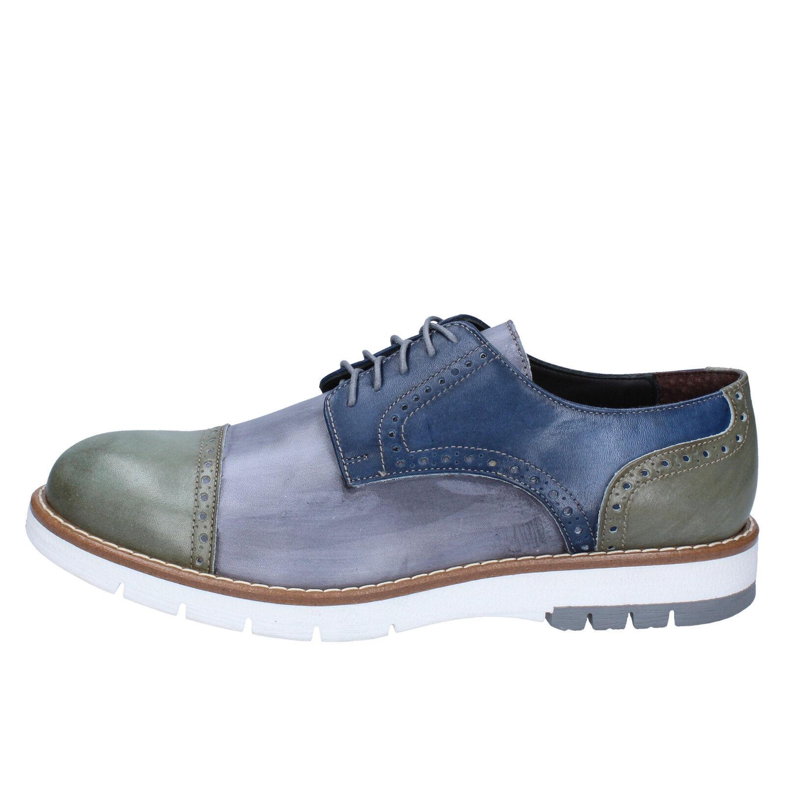 men's shoes DI MELLA 10 () elegant blue gray leather BZ41-D
