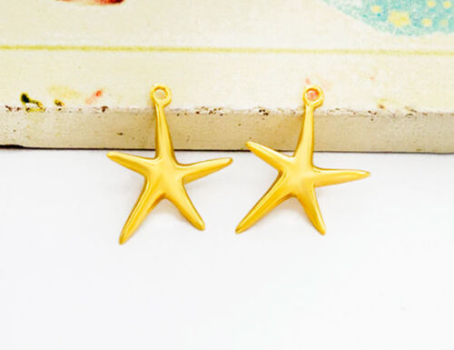925 Sterling Silver 24k Gold Vermeil Style 2 Starfish Charms 12mm.