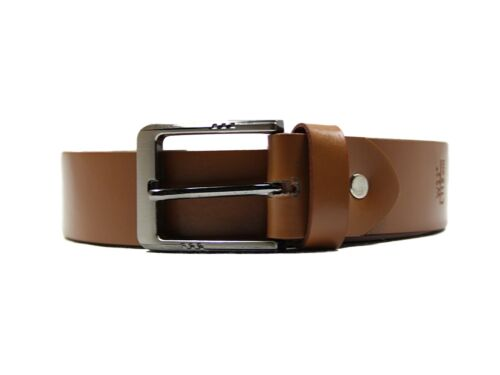 Lucini Mens New Genuine Leather Belt with Metal Buckle Black Brown Tan