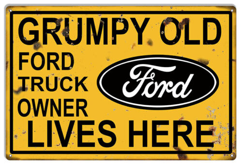 VINTAGE ANTIQUE Style Metal Sign Grumpy Ford Truck 18x30