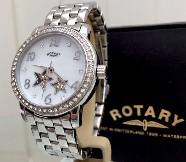 Rotary Watch Ladies AUTOMATIC Skeleton Stars Swarovski Crystals RRP £189 BOXED