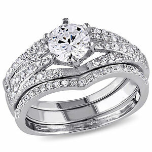 Sterling-Silver-Cubic-Zirconia-3-piece-Engagement-Solitaire-Bridal-Ring-Set
