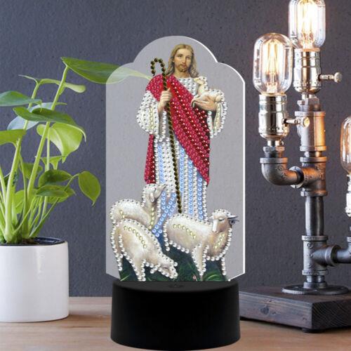 Table lamp LED Diamond Painting Night Light Jesus Crystal Art Decor DIY Gifts
