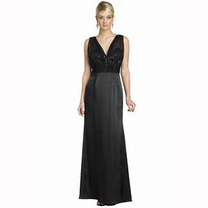 6ef32601e7d3 Elegent V-Neck Satin Sequins Mesh Formal Evening Gown Night Party ...