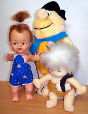 "1962 Ideal Pebbles Flintstones Doll + Vintage Nanco Plush 15"" Fred & 10"" Bam Bam"