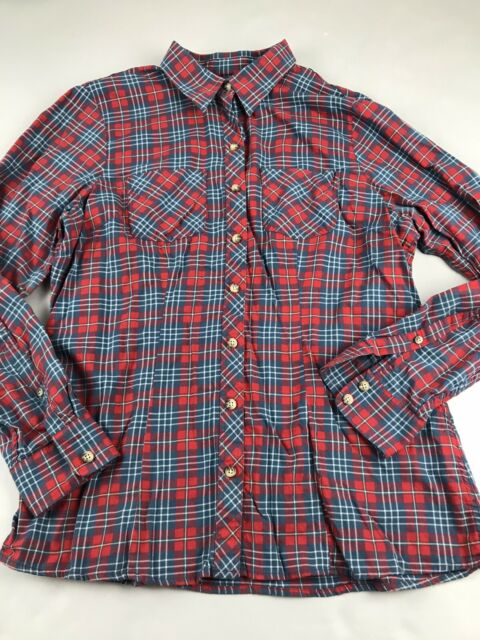 LL Bean Plaid Flannel Shirt Top Long Sleeve Small S Button Blue Red Cotton Women