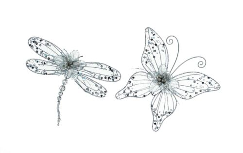 20 cm Argent ou Or Glitter Papillon ou libellule décoration de Noël