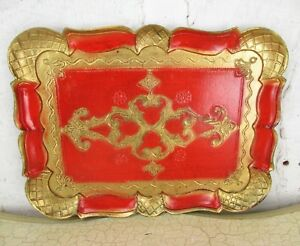 Mid-Century-Hollywood-Regency-Florentine-Serving-Tray-Red-Gold-Gilt-Resin-Italy