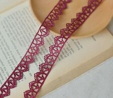 5/8 inch wide burgundy lace trim selling by the yard