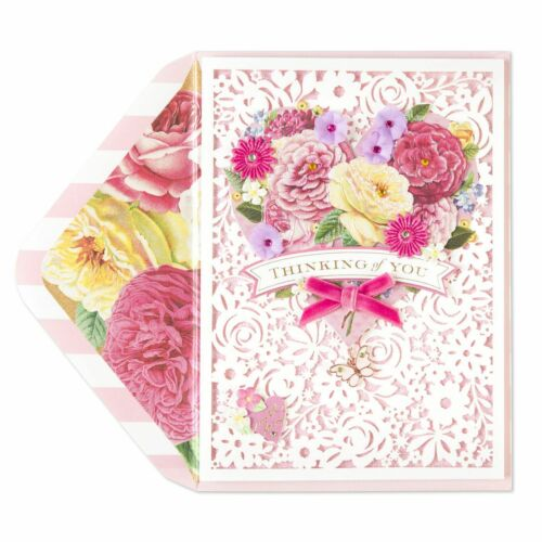 SEALED Papyrus Gorgeous Layered Floral Lasercut Valentines Day Card retail $9.95