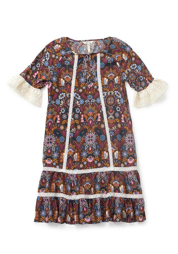 NWT Matilda Jane Intermission Dress Women's Women's Women's Large L Make Believe Lace Trim Brown d04884