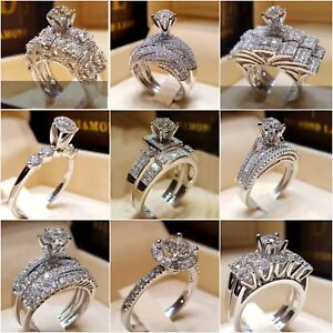 New White Sapphire  Birthstone 925 Silver Filled Wedding Bridal Ring Size 6-10