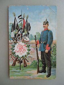 Ansichtskarte-Regiment-Soldat-Pickelhaube-JRW-112-Fahnen