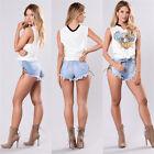 Women High Waist Sexy Summer Lace UP Split Ripped Jeans Tight Denim Mini Shorts