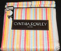 Cynthia Rowley F/q Multi Color Striped Quilt Set Blue Yellow Pink