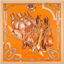 "Women's Fashion Printed Twill Silk Orange  Square Scarf of Horses Shawl 51""*51"""