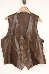 VTG-Deadstock-Tadmor-Mens-Vest-46R-Solid-Brown-Soft-Leather-Waistcoat-NWT
