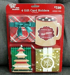 Set of 4 BRAND NEW Christmas Gift Card Tin Holders Boxes Box Holder Greeting