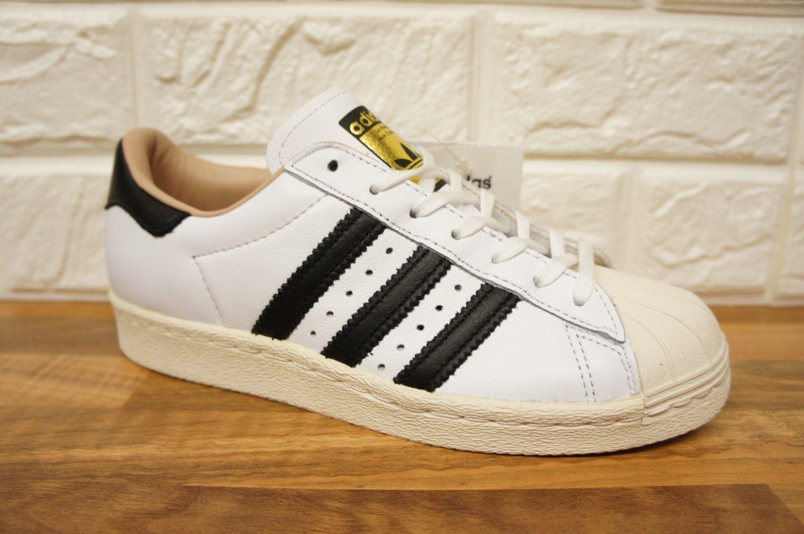 ADIDAS Superstar 80s Scarpe Misura 4 bianco nero pelle con tacco Scarpe Da Ginnastica BNWB Nuovo