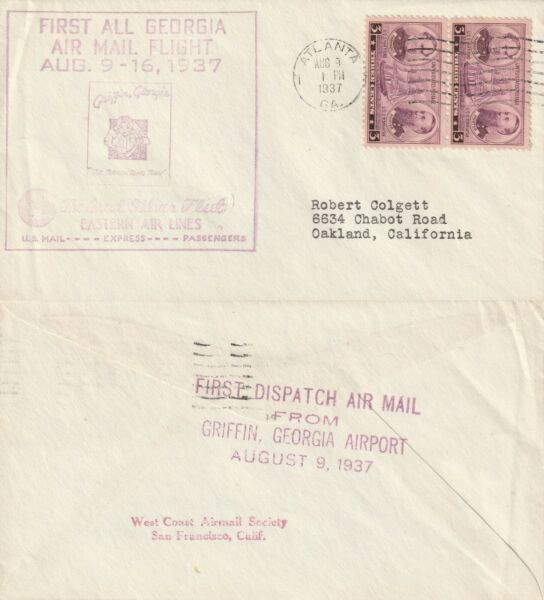 100% Vrai 1937 Us Première Tous La Géorgie Vol Avion Cover Atlanta En Géorgie
