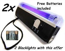 2 x Handheld UV Black Light Torch Blacklight  Dj Pet Money Flashlight +Batteries