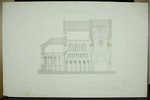 Abbatial-Eglise-of-Saint-Genou-Indre-Plan-Architecture-c1870-Penel-amp-Suddenly