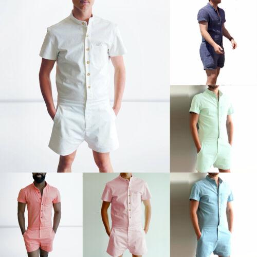 Herren Body Einteiler Overall Spielanzug Bodysuit Jumpsuit Kurzarm Hemden Hose