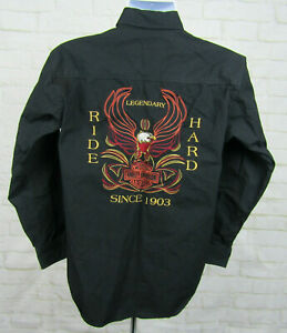 Harley-Davidson-Embroidered-Black-Long-Sleeve-button-down-shirt-sz-Small-Eagle