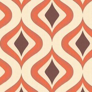 Details zu Vlies Tapete Retro Muster 70er Jahre beige braun orange 15195  Graham & Brown