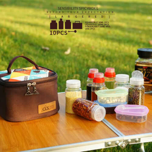Satz Gewürzflaschen Set Einkaufstasche Camping Kochen Gewürzdosen 10 Teile