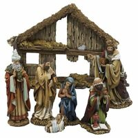 Kurt Adler 6-inch 7-piece Resin Nativity Set With Stable And 6 Figures, New, Fre on Sale
