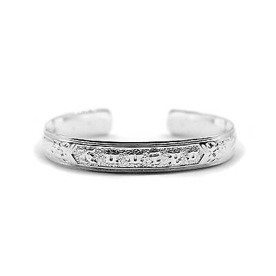 Hawaiian Bangle Plumeria Scroll 925 Sterling Silver Smooth Bracelet Silver Cuff
