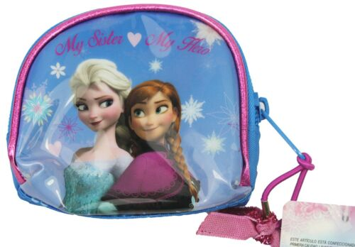 """Frozen /""""My Sister My Hero/"""" Elsa and Anna Disney Film Blue Pink Small Purse NEW"""