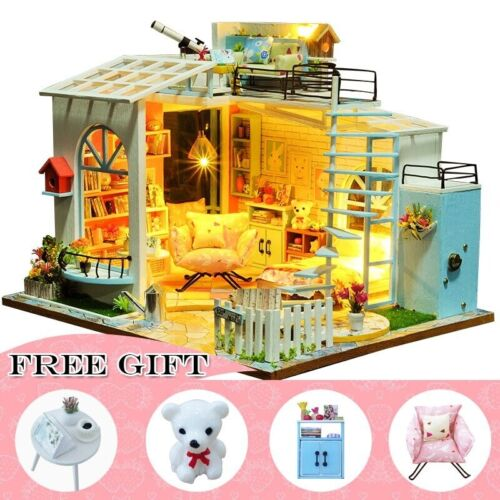 Details about  /DIY Doll House Furniture Miniature House Room Box Theatre Toys for Children Casa