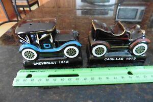 Salt & pepper Chevy Chevrolet 1913 & Cadillac porcelain old