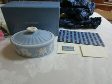 Rare Wedgwood Blue Jasperware Oval Bowl Box w/Lid NIB