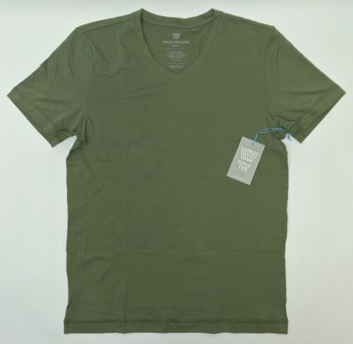 Pima Cotton M01T20 in Deep Lichen Men Size Small Mack Weldon SS V Neck T-Shirt