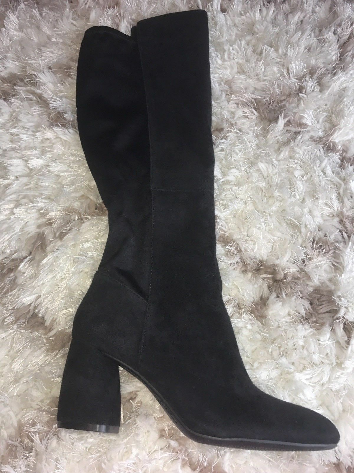 Nine West Kerianna Black Black Black Pull Over The Knee Fashion Boots 8.5 Suede Block Heels c31461