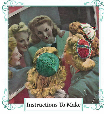 Vintage *Knitting pattern*-instructions of how to make stylish 1940s Juliet caps